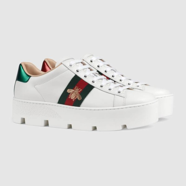 Image result for Gucci White Ace Platform Sneakers
