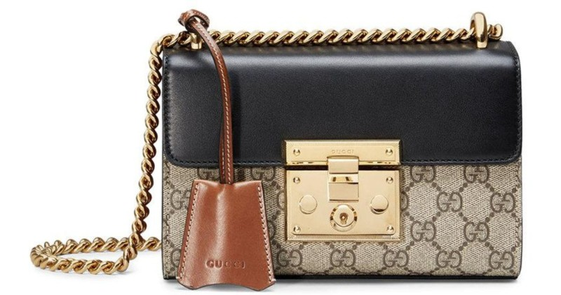 Image result for Gucci Black & Brown Small Padlock GG Shoulder Bag