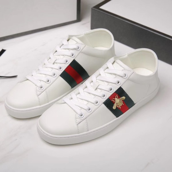 Image result for Gucci White Leather Ace Sneakers