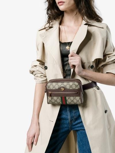 Image result for Gucci Brown GG Supreme Ophidia iPhone Case Belt Bag